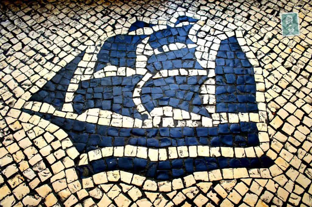 Portuguese style pavement in Macau - Ship
