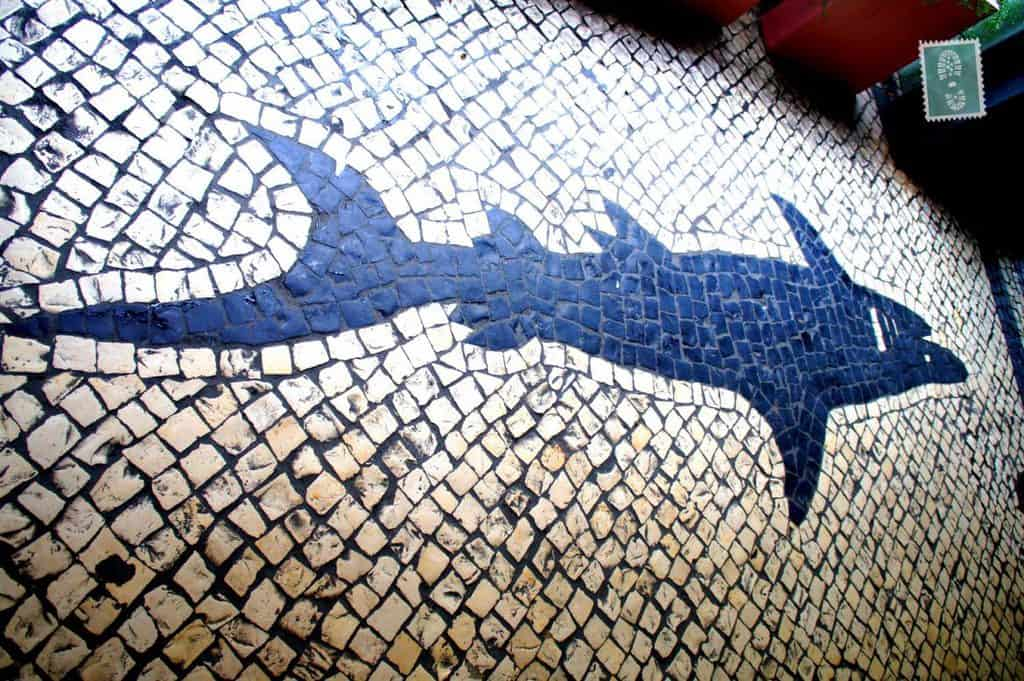 Portuguese style pavements in Macau - Shark