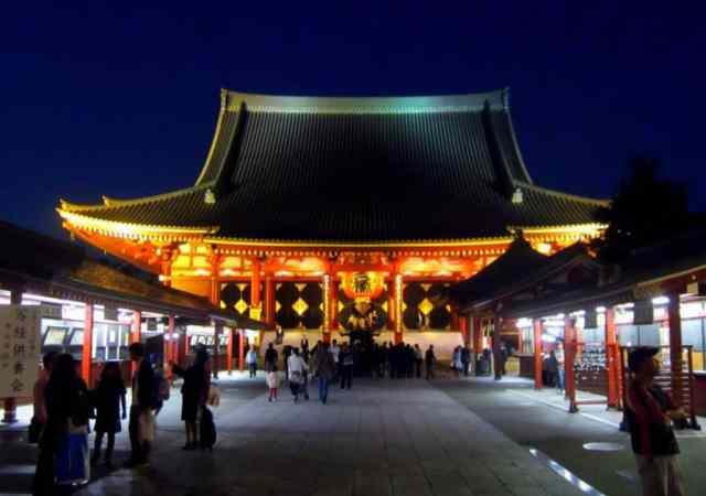 Japanese Temple at night, Tokyo