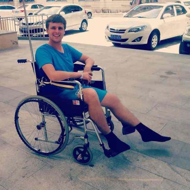 A boy on the wheelchair