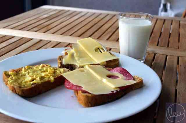 Norwegian breakfast milk cheese bread salami