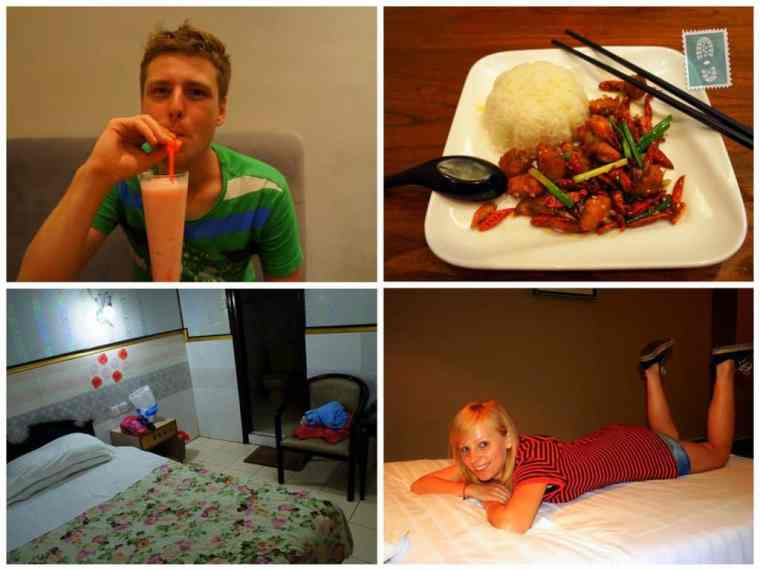 Chinese food, a guy drinking a cocktail, a girl lying on the bed