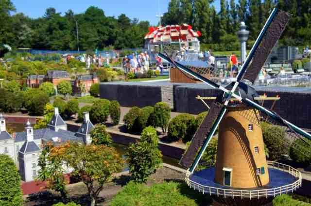a huge Dutch windmill in Madurodam