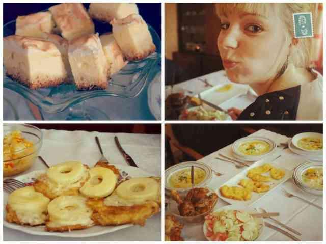 A girl eating Polish food and cakes