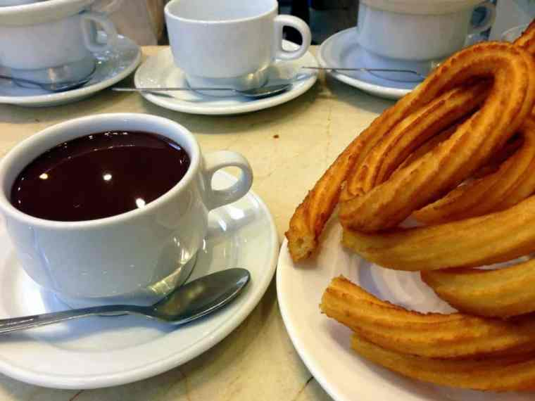 Spanish breakfast churros and coffee