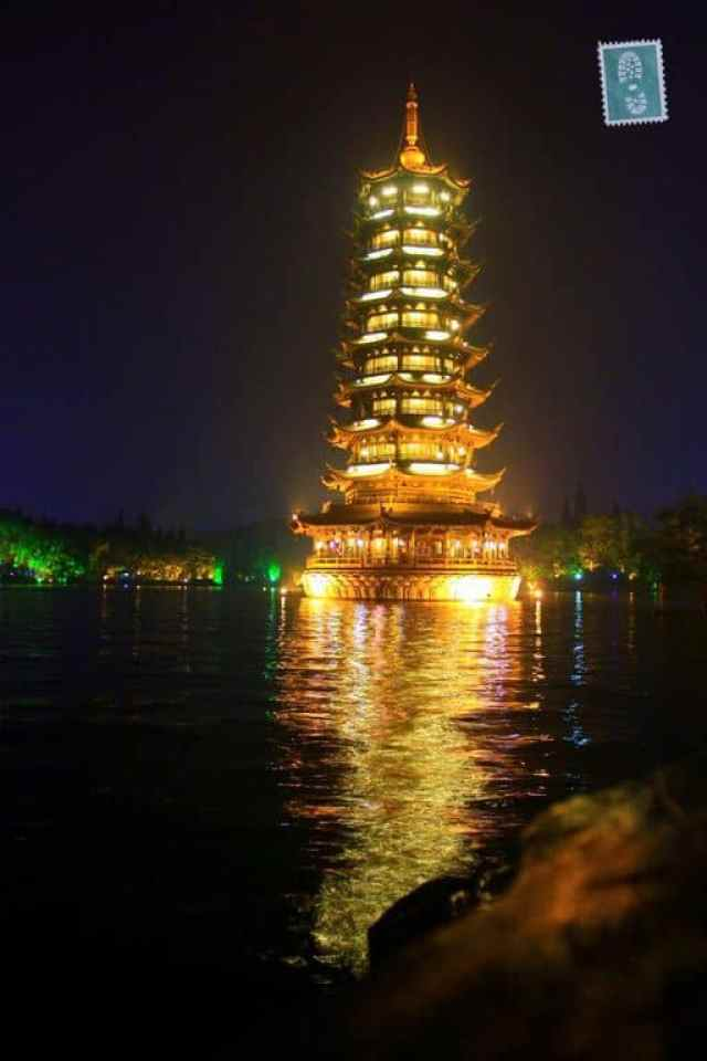 The night snapshot of pagoda in Guilin