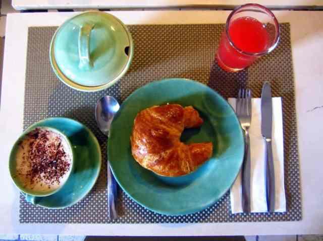 Italian breakfast cappuccino, croissant