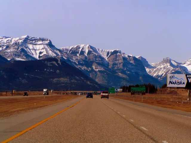 Trans-Canadian Highway - Rocky Mountains in Background