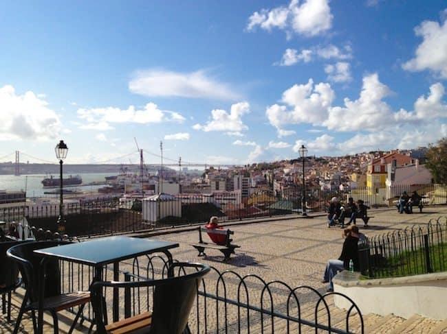 Coffee break at Adamastor view point in Baixa, Lisbon