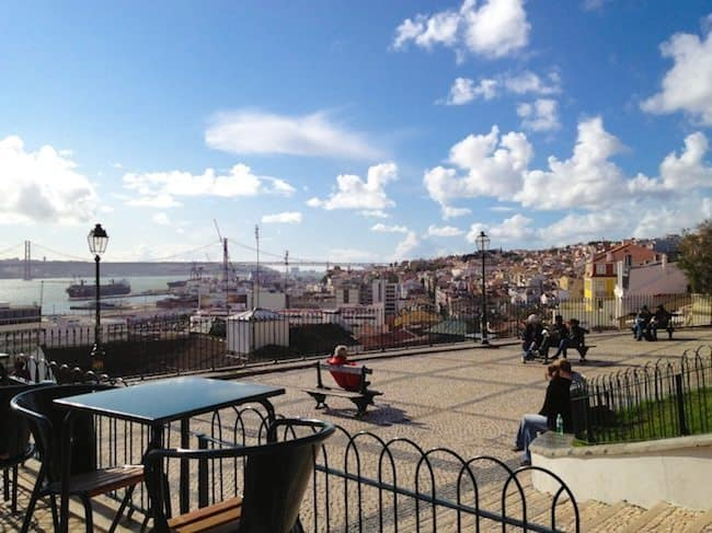 Coffee break at Adamastor view point in Baixa, Lisbon
