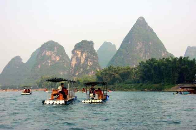 Boats at yangshuo river