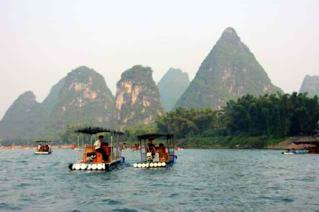 Boats at yangshuo river