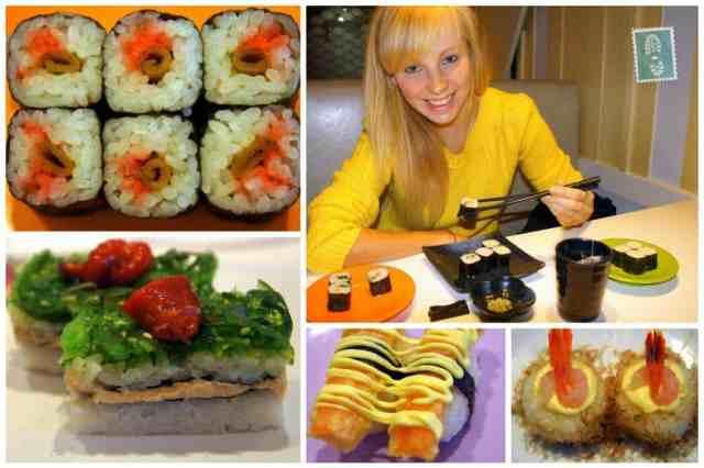 A girl is enjoying her Sushi in Tokyo