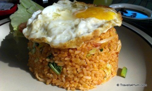 Malaysian breakfast fried egg with rice