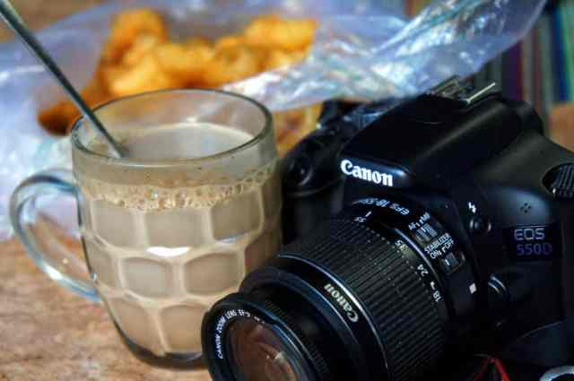 camera and hot chocolate