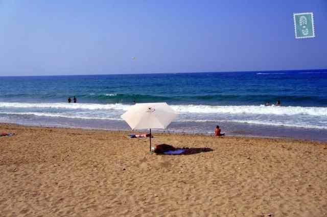 Almost empty beach in Rethymno