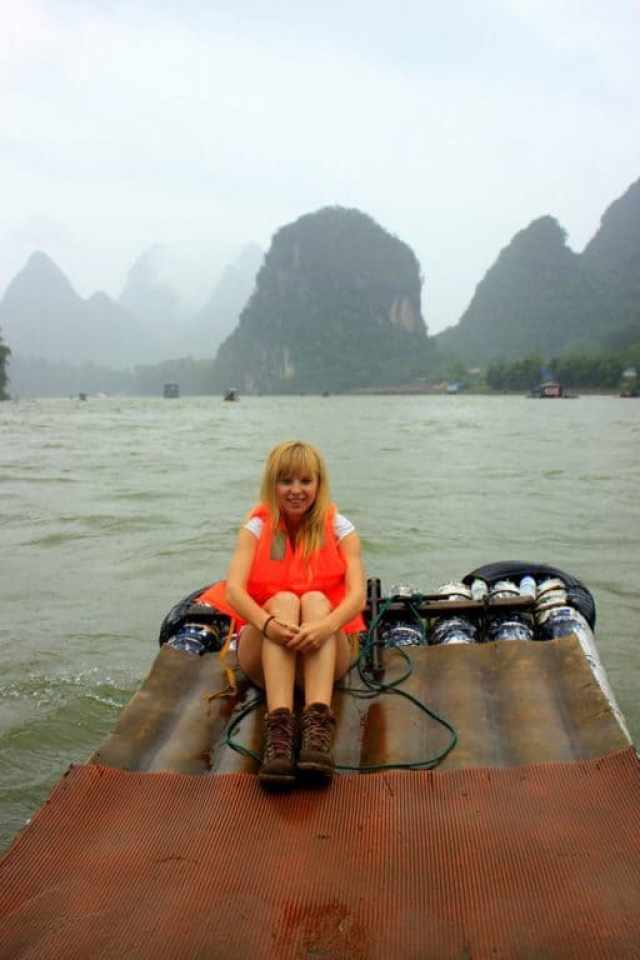 A girl on the boat Yangshuo river