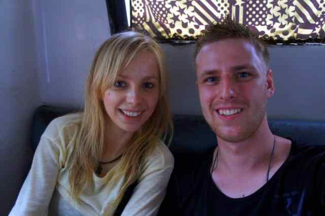 Two foreigners in a local bus
