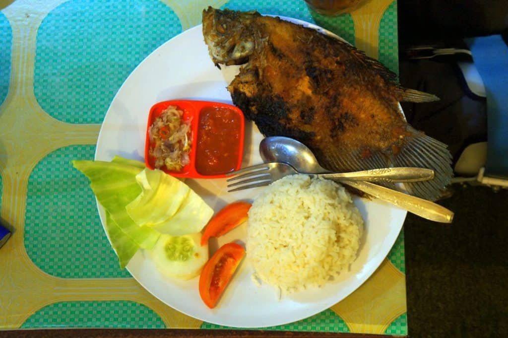 A typical Indonesian food served in local restaurant