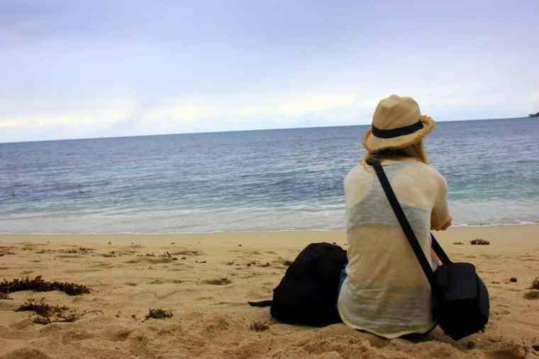 A girl alone on the beach