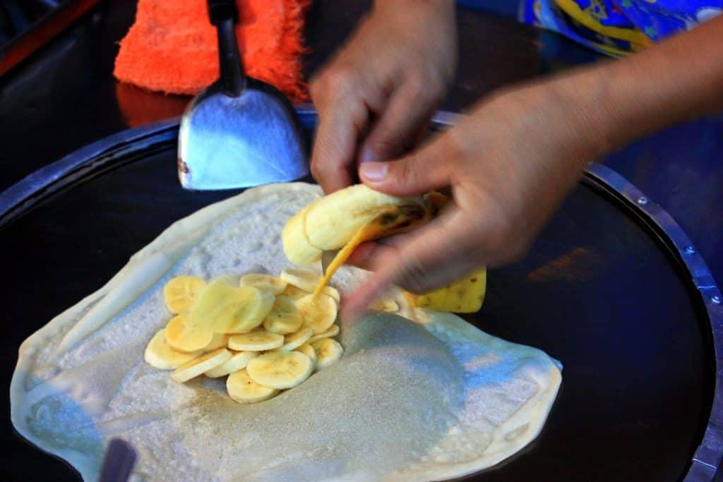 Thai pancakes in progress
