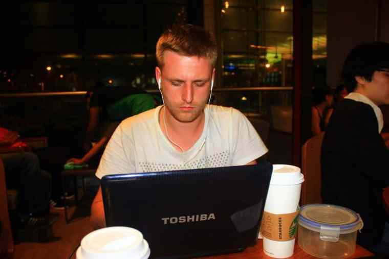 Working hard at Singapore airport