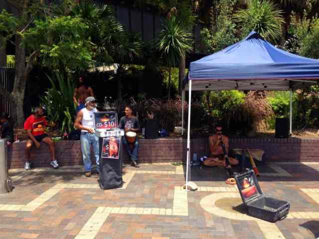 Buskers play the didgeridoo at Circular Quay