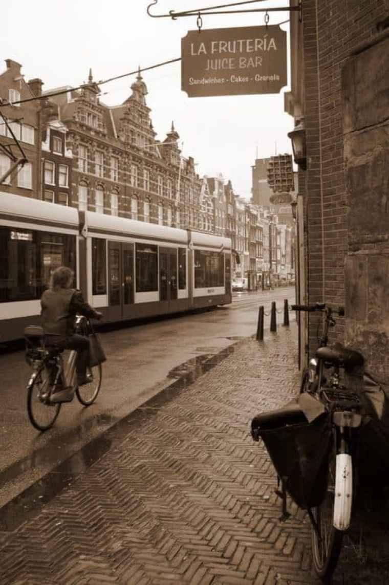 Man biking in Amsterdam