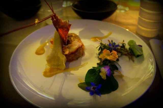Lobster, artichoke, plus mushroom pannacota and asparagus