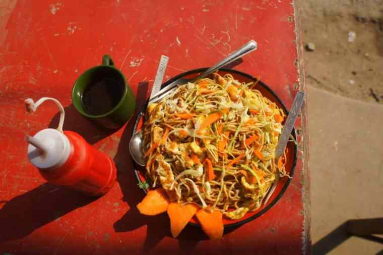 Fried noodles with eggs and veggies. One of our first dishes in Kathmandu.