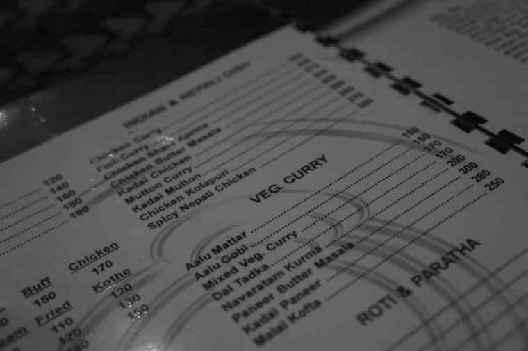 The menu in Delicious Thakali restaurant.