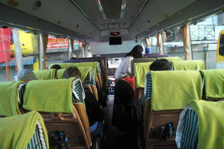 Inside the bus in Myanmar