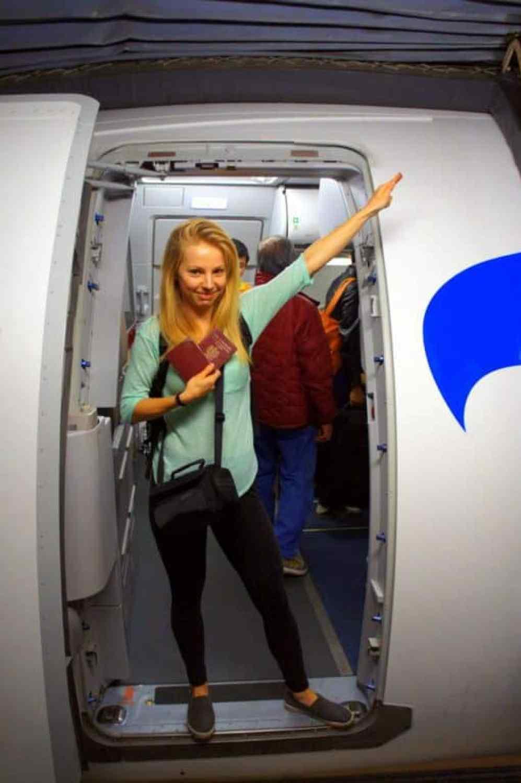 entering a plane