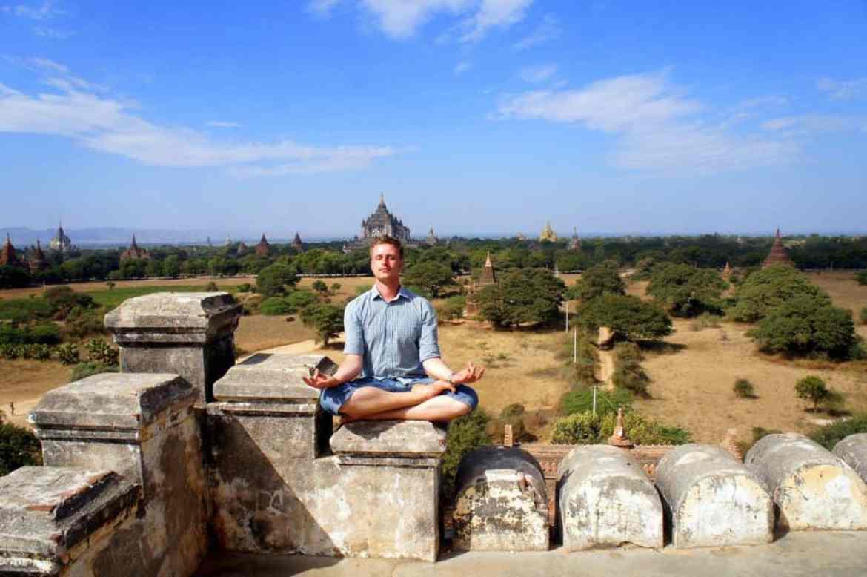 yoga pose at bagan temple