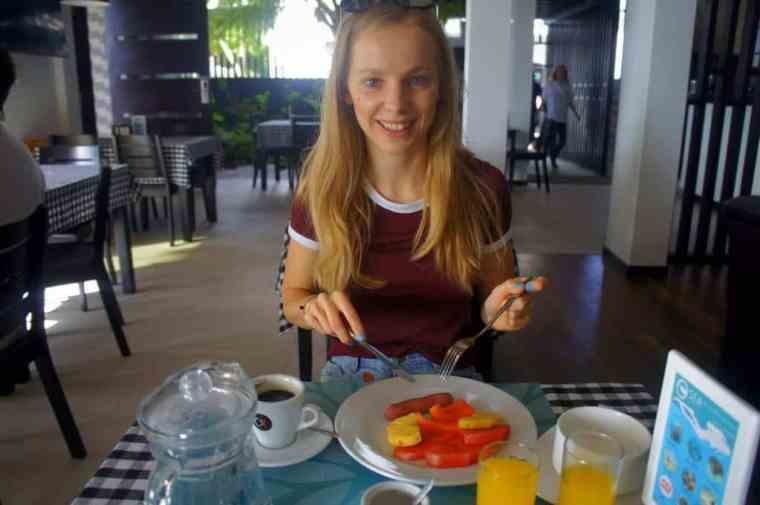 Eating breakfast at Canopus Retreats