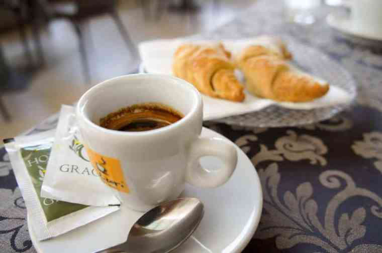 Coffee and croissant at Hotel Grace