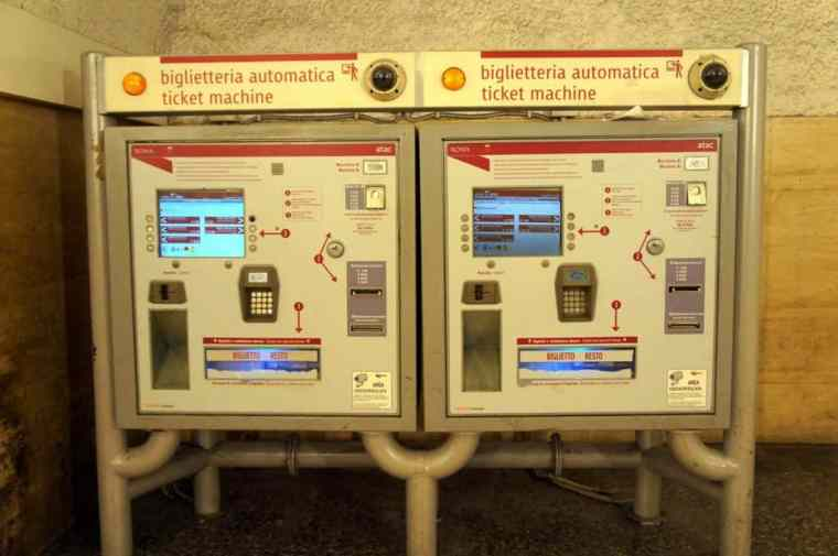 Metro ticket machine in Rome
