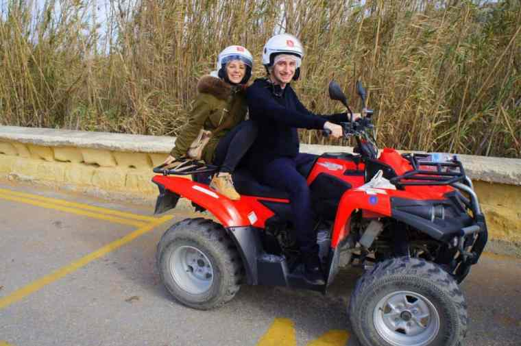 Agness with a friend on a quad bike