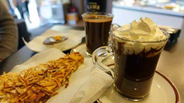 Hot chocolate and Portuguese goodies