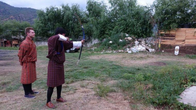 Cez had archery lessons in Bhutan