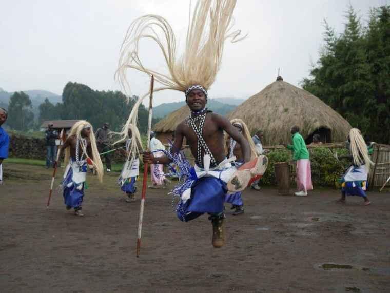 A tribesman dances in Rwanda