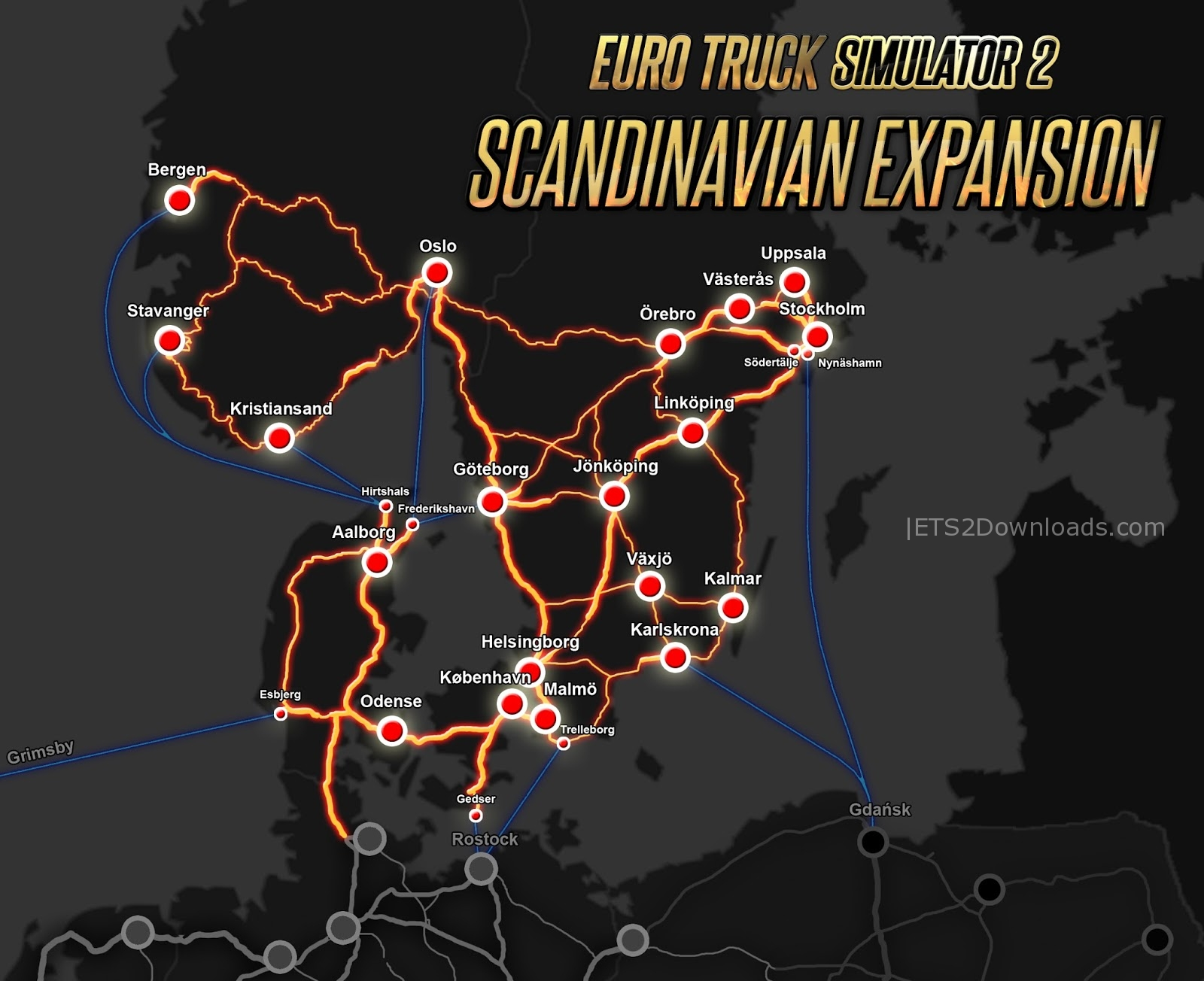 New ports and ferry locations in Scandinavia DLC - ETS2 Mods