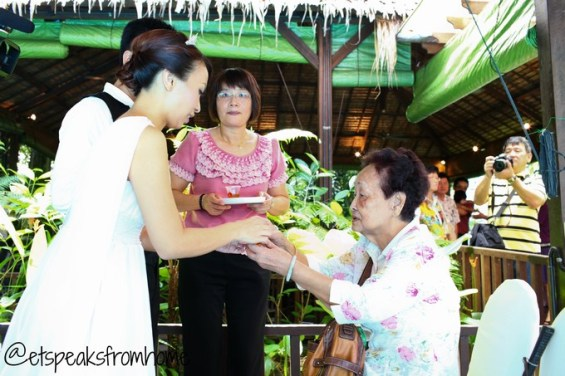 Chinese Wedding Tea Ceremony - Bride and groom to grandmother