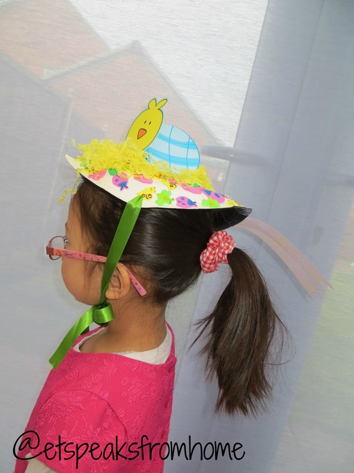Easter Bonnet Hat Chick & How to make an Easter Bonnet Hat using Paper Plate - ET Speaks From Home
