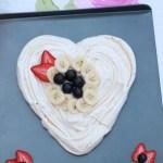 valentines day heart shaped banana pavlova