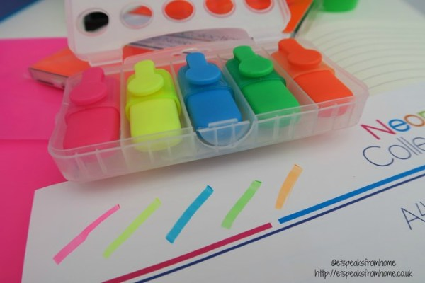 neon stationery highlighters