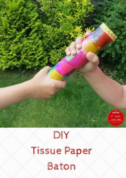 diy tissue paper baton for relay