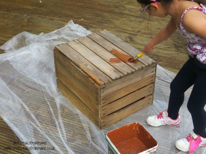 wooden crate painting red cedar