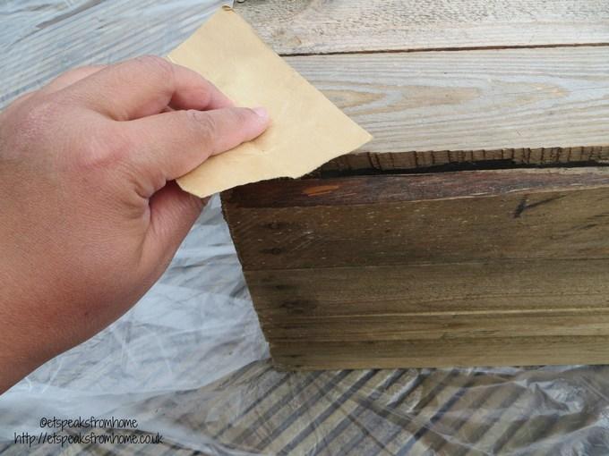 wooden crate sandpaper