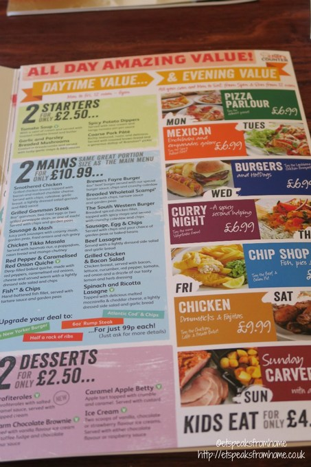 brewers fayre daytime value